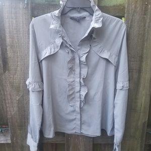 WALTER BAKER Gray Button Up Blouse